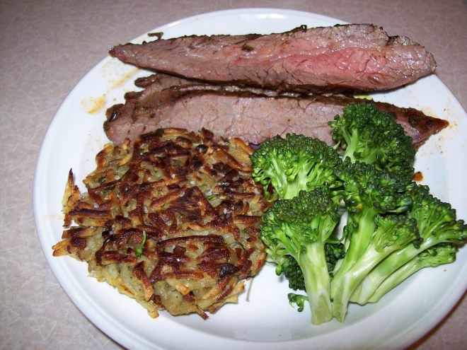 Herb Rubbed Flank Steak with Sweet Potato Pancake and Broccoli
