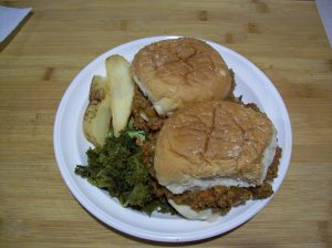 sloppy joe with kale and potatoe