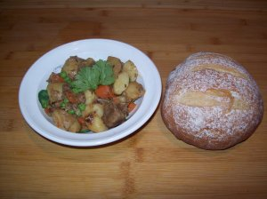 Lamb and Veggie Stew with bread