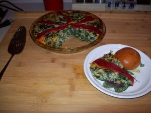 Spinach, Cheddar and Rice Pie