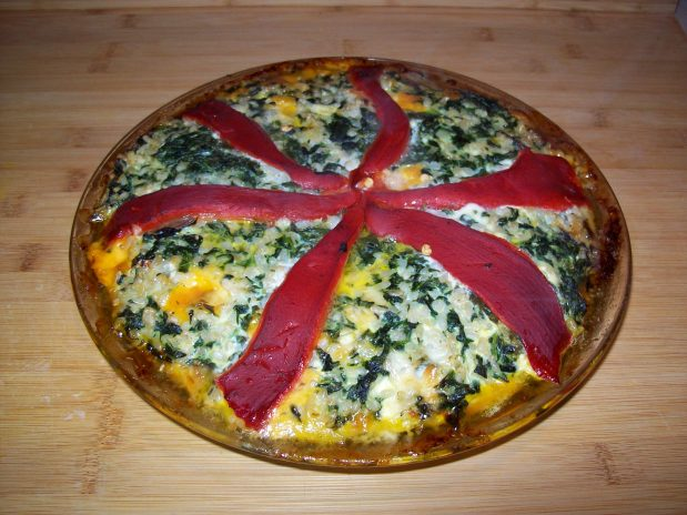 Spinach, Cheddar and RicePie.