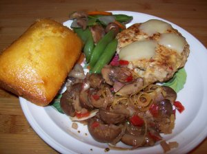 Marinated Mushrooms serve with cornbread, turkey burger and snap pea salad