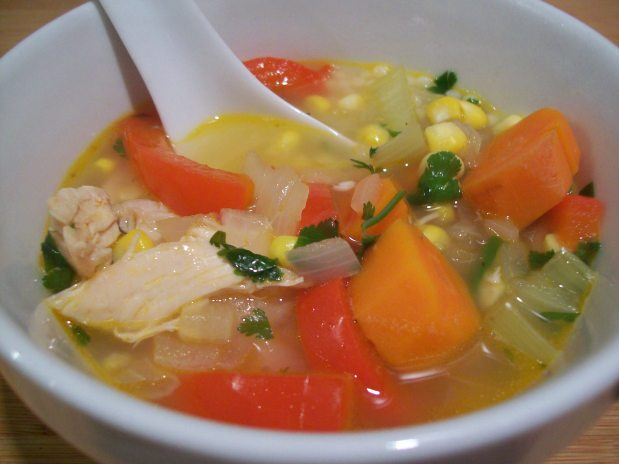 Ginger, Corn Chicken Soup