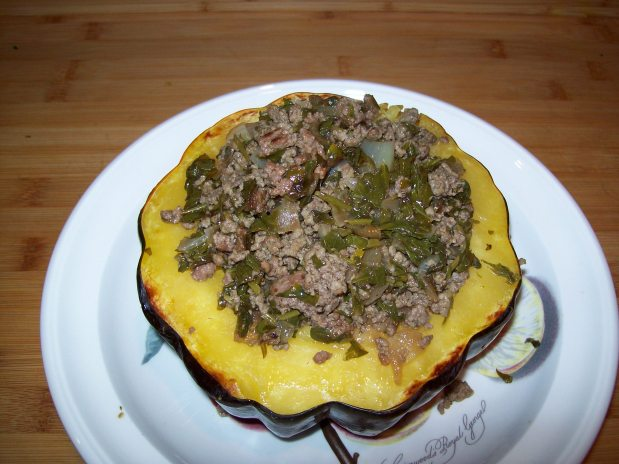 Acorn Squash with Ground Lamb and Kale