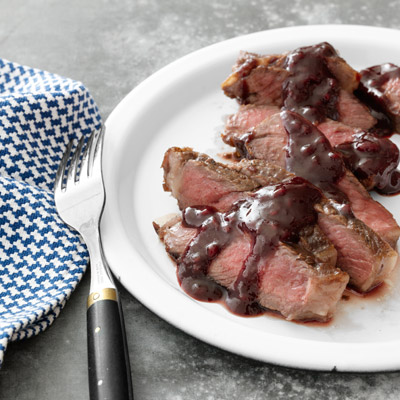 Rib eye Steaks with Rasberry Sauce