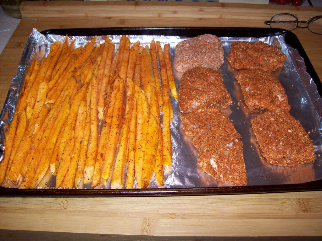 Spicy oven baked fish and sweet potato chips gourmet dad for Oven baked fish