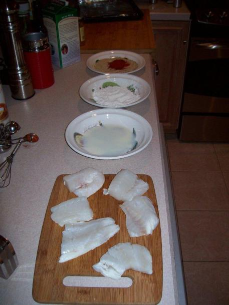 Cut fish, prepare milk flour and bread crumbs
