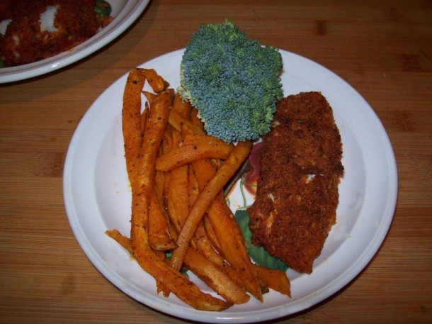 Spicy Oven-Baked Fish and Sweet Potato Chips