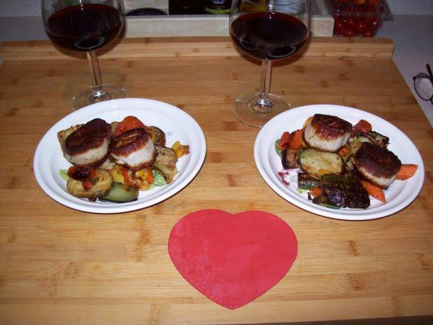 Pan Seared Sea Scallops with roasted veggies