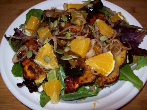 Caramelized Acorn Squash Salad with Crispy Shallots.
