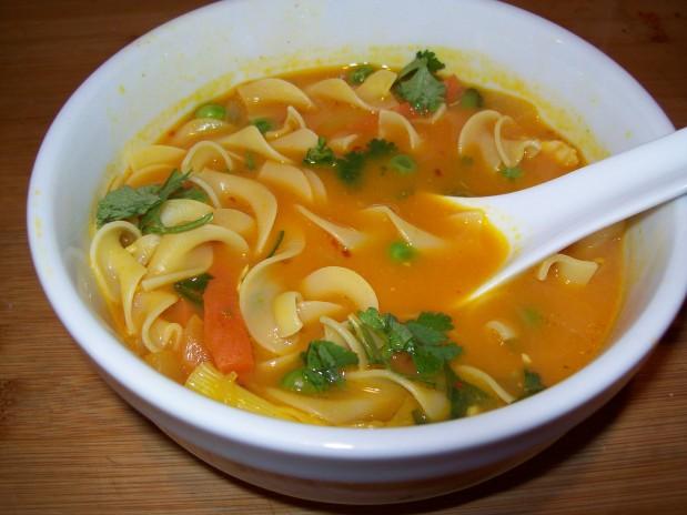 Carrot Orange Juice Chicken NoodleSoup