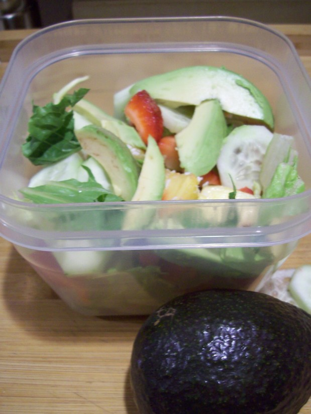 Salad with Strawberry, Pineapple and Avocado