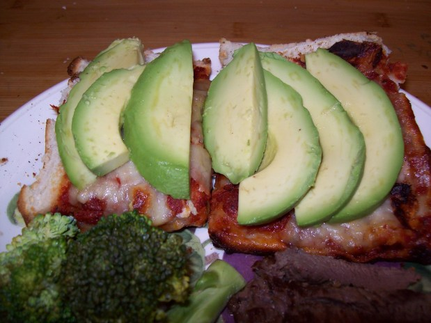 Bread Pizza with Avocado Slices