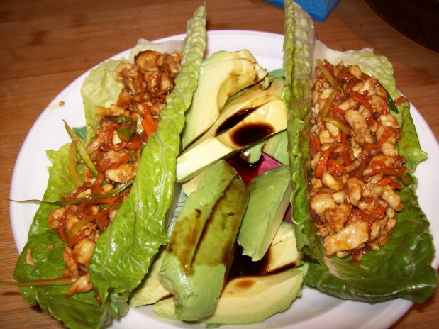 Minced chicken Wrap with Avocado Drizzled with Balsamic Vinegar