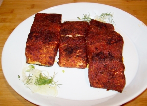 Broiled BBQ-Spiced Rubbed Salmon