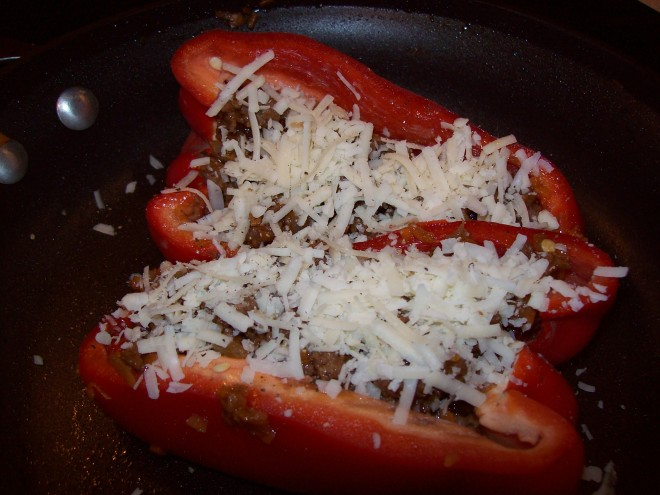 stuff red pepper and top with shredded cheese