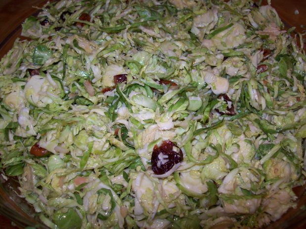Brussels Sprout Salad with Smoked Gouda, Pecans, and DriedCherries