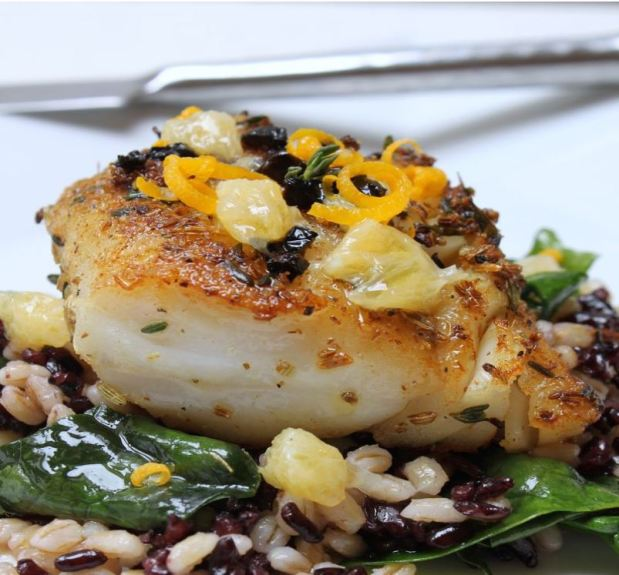 Fennel + Thyme Crusted Cod with Meyer Lemon, Oil-Cured Olives & Black Forbidden Rice