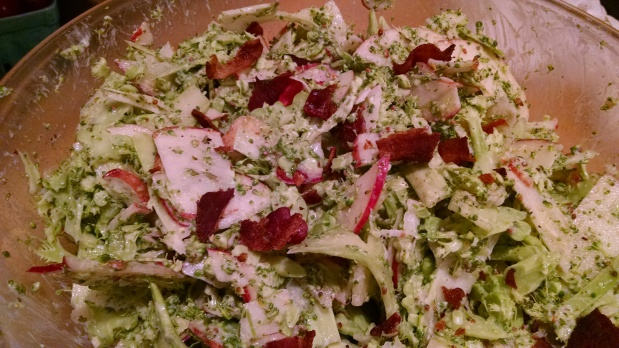 Shaved Broccoli-Apple Salad with Tarragon Dressing and Bacon