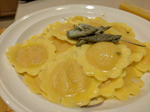Butternut Squash Ravioli with Sage Butter Sauce.