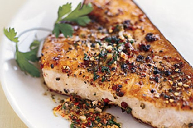Pan-Roasted Swordfish with Mixed Peppercorn Butter.